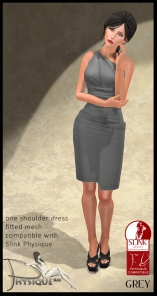 One Shoulder Dress Grey