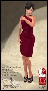 One Shoulder Dress Ruby