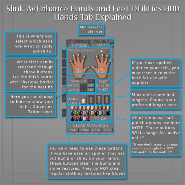Slink Hands and Feet Utils HUD Hands Tab Guide
